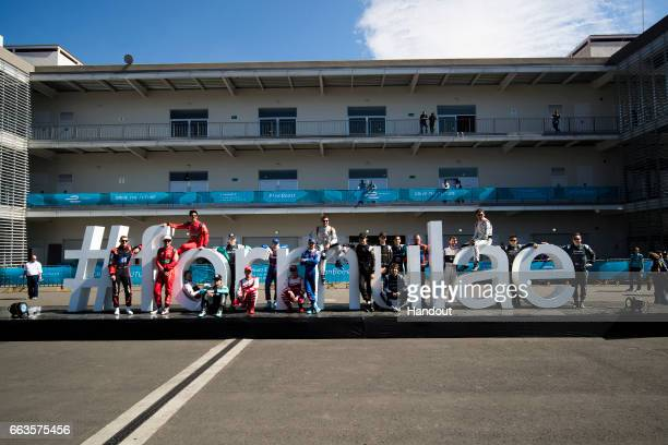 In this handout image supplied by Formula E All the drivers on the #formulae sign during the FIA Formula E Championship Mexico City ePrix on April 1...