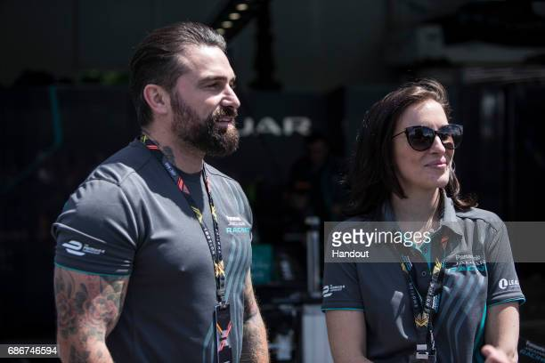 In this handout image supplied by Formula E Ant Middleton and Vicky McClure in the Panasonic Jaguar Racing garage at the FIA Formula E Paris ePrix...