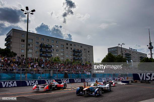 In this handout image supplied by Formula E Bruno Senna Mahindra Racing M2ELECTRO during the Berlin Formula E race on May 21 2016 in Berlin Germany
