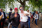 In this handout image supplied by Formula E Emerson Fittipaldi and Alejandro Agag on the grid during the London Formula E race on JULY 3 2016 in...