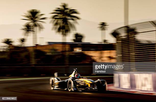 In this handout image supplied by Formula E JeanEric Vergne Techeetah SparkRenault Renault ZE 16 during the FIA Formula E Championship Marrakesh...