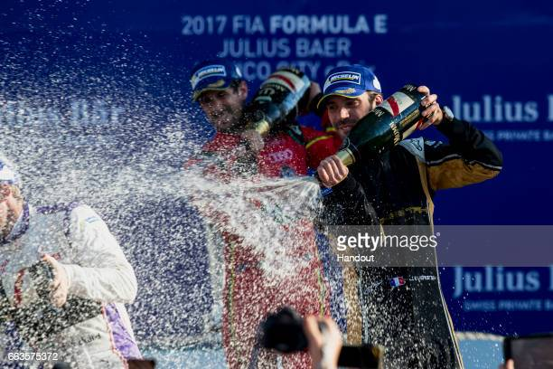 In this handout image supplied by Formula E JeanEric Vergne Techeetah SparkRenault Renault ZE 16 celebrates during the FIA Formula E Championship...