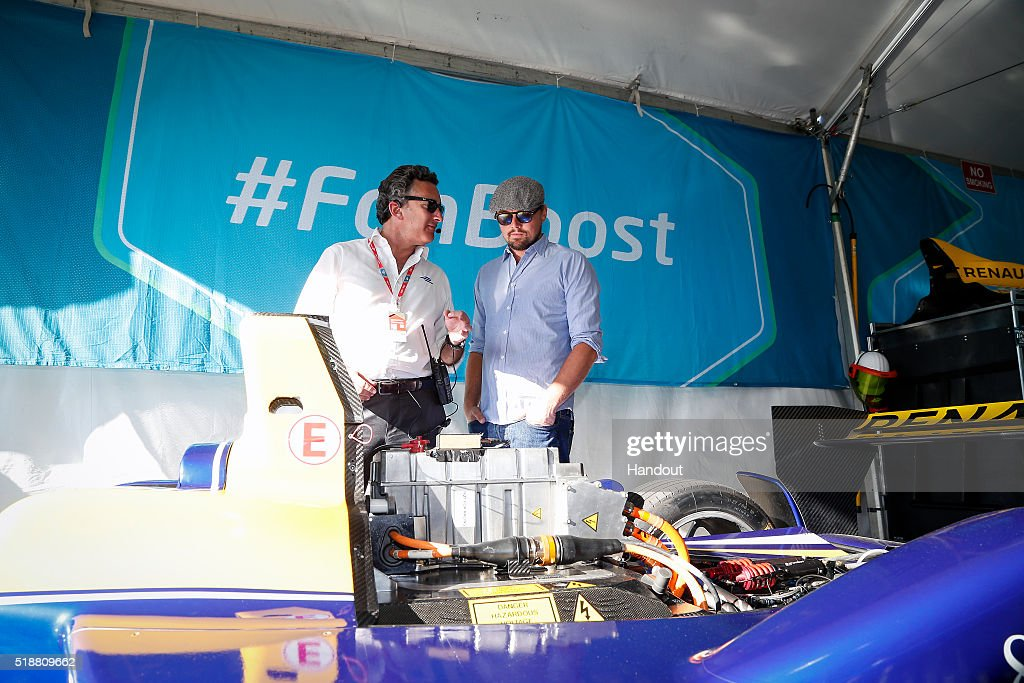In this handout image supplied by Formula E, <a gi-track='captionPersonalityLinkClicked' href=/galleries/search?phrase=Leonardo+DiCaprio&family=editorial&specificpeople=201635 ng-click='$event.stopPropagation()'>Leonardo DiCaprio</a> with <a gi-track='captionPersonalityLinkClicked' href=/galleries/search?phrase=Alejandro+Agag&family=editorial&specificpeople=2910760 ng-click='$event.stopPropagation()'>Alejandro Agag</a> - CEO, Formula E Holdings during the Long Beach Formula E race at Long Beach Street Circuit on April 2, 2016 in Long Beach, California.