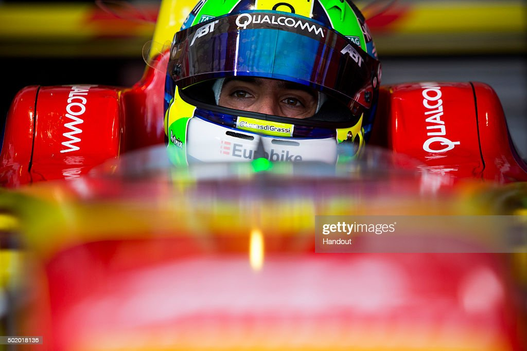 In this handout image supplied by Formula E, Lucas Di Grassi (BRA), ABT Audi Sport FE01 during the Julius Baer Punta del Este Formula E race at Playa Brava Beach street circuit on December 19, 2015 in Punta Del Este, Uruguay.