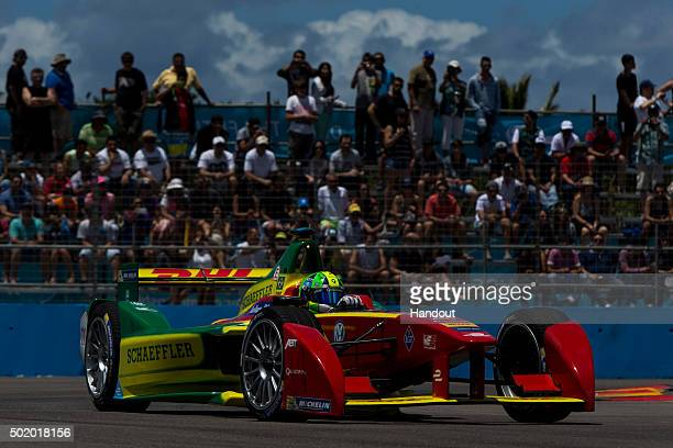 In this handout image supplied by Formula E Lucas Di Grassi ABT Audi Sport FE01 during the Julius Baer Punta del Este Formula E race at Playa Brava...