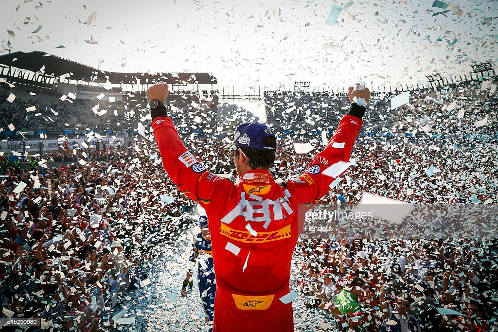 In this handout image supplied by Formula E, Lucas Di Grassi (BRA), ABT Audi Sport FE01 on the podium during the Mexico City Formula E race at Puerto Autodromo Hermanos Rodriguez on February 6, 2016 in Mexico City, Mexico.