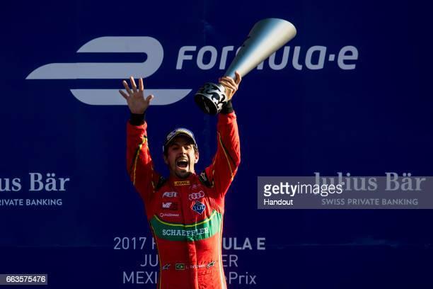 In this handout image supplied by Formula E Lucas Di Grassi ABT Schaeffler Audi Sport SparkAbt Sportsline ABT Schaeffler FE02 celebrates during the...