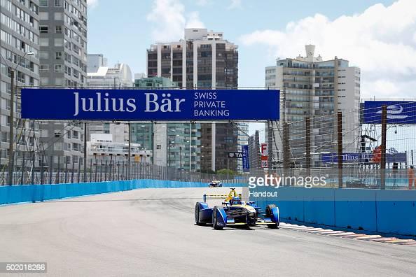 In this handout image supplied by Formula E Nicolas Prost Renault eDams ZE15 during the Julius Baer Punta del Este Formula E race at Playa Brava...
