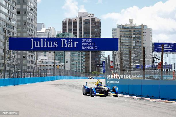 In this handout image supplied by Formula E Nicolas Prost Renault eDams ZE15 during the Julius Baer Punta del Este Formula E race at Playa Brava...