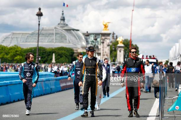 In this handout image supplied by Formula E Nicolas Prost Renault eDams SparkRenault Renault ZE 16 Sebastien Buemi Renault eDams SparkRenault Renault...