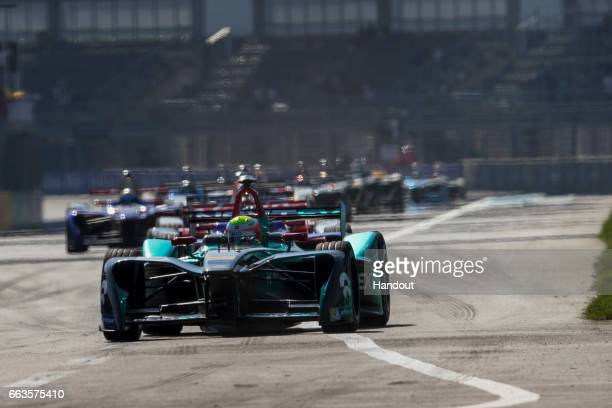 In this handout image supplied by Formula E Oliver Turvey NextEV NIO SparkNEXTEV NEXTEV TCR Formula 002 during the FIA Formula E Championship Mexico...