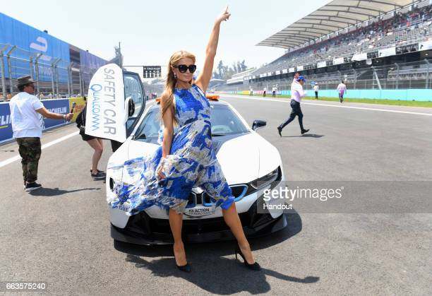In this handout image supplied by Formula E Paris Hilton attends the FIA Formula E Championship Mexico City ePrix on April 1 2017 in Mexico City...