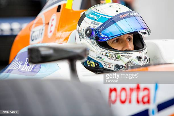 In this handout image supplied by Formula E Rene Rast Team Aguri Spark SRT_01E during the Berlin Formula E race on May 21 2016 in Berlin Germany