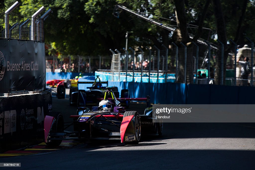 In this handout image supplied by Formula E, Sam Bird (GBR), DS Virgin Racing DSV-01, during the Buenos Aires Formula E race at Puerto Madero Street Circuit on February 6, 2016 in Buenos Aires, Argentina.