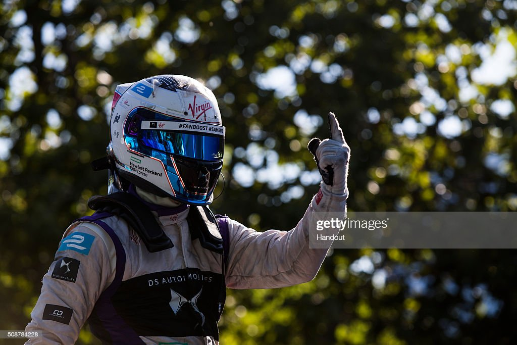 In this handout image supplied by Formula E, Sam Bird (GBR), DS Virgin Racing DSV-01, celebrates his win, during the Buenos Aires Formula E race at Puerto Madero Street Circuit on February 6, 2016 in Buenos Aires, Argentina.