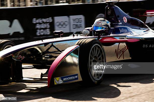 In this handout image supplied by Formula E Sam Bird DS Virgin Racing DSV01 during the Buenos Aires Formula E race at Puerto Madero Street Circuit on...
