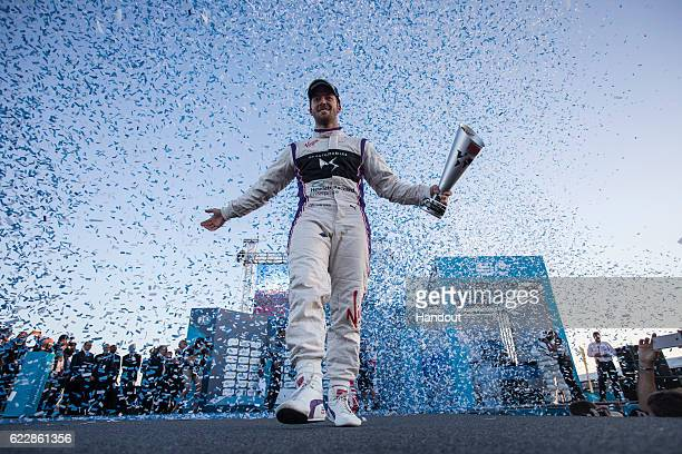 In this handout image supplied by Formula E Sam Bird DS Virgin Racing SparkCitroen Virgin DSV02 during the FIA Formula E Championship Marrakesh ePrix...
