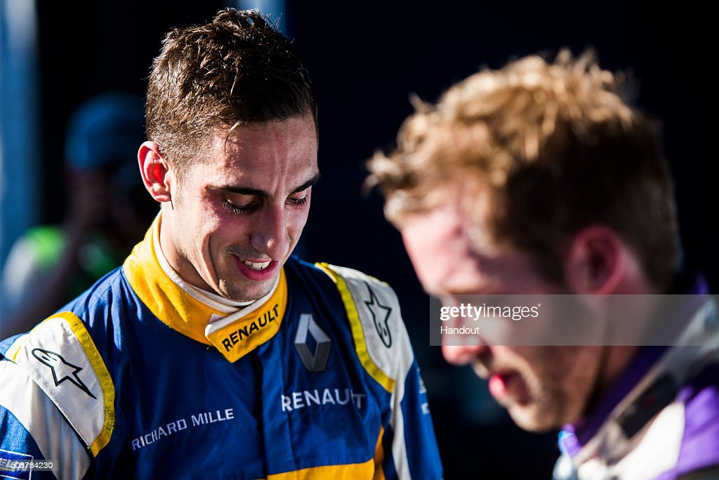 In this handout image supplied by Formula E, Sebastien Buemi (SUI), Renault e.Dams Z.E.15 & Sam Bird (GBR), DS Virgin Racing DSV-01, during the Buenos Aires Formula E race at Puerto Madero Street Circuit on February 6, 2016 in Buenos Aires, Argentina.