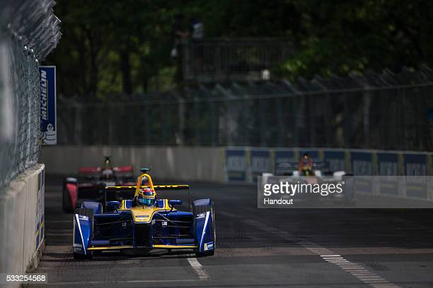In this handout image supplied by Formula E Sebastien Buemi Renault eDams ZE15 during the Berlin Formula E race on May 21 2016 in Berlin Germany