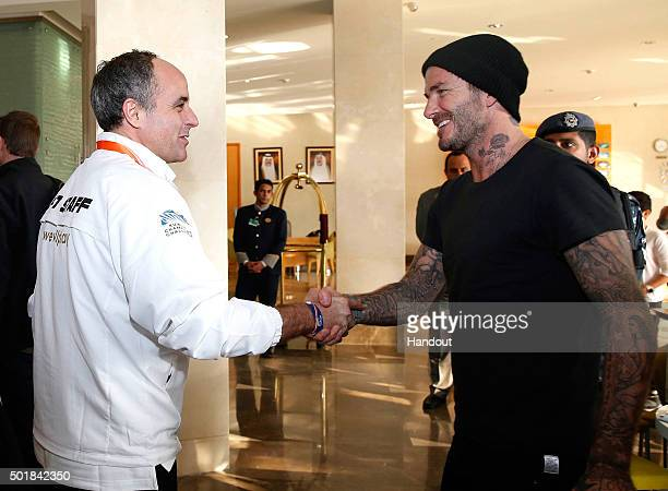 In this handout image supplied by Francisco Paraiso David Beckham arrives in Kuwait prior to the Kuwait Champions Challenge match between a Football...