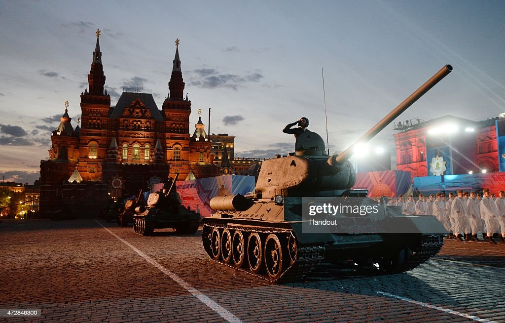 In this handout image supplied by Host photo agency / RIA Novosti a general view during the gala concert held in Red Square to mark the 70th...