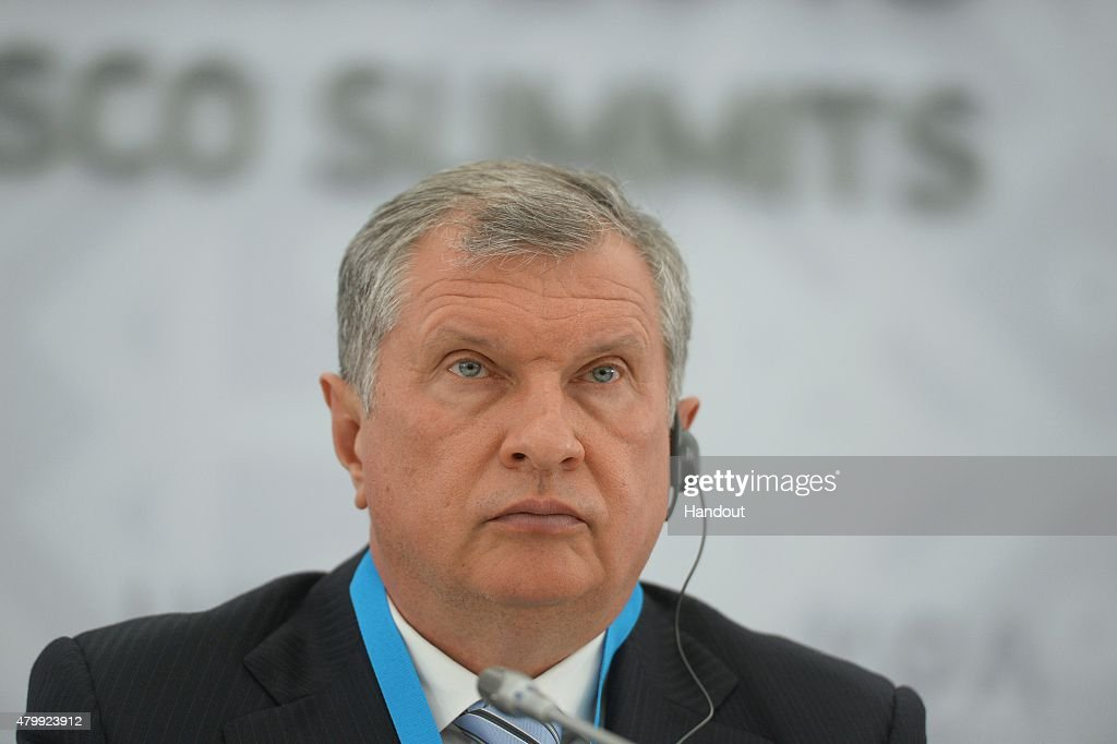 In this handout image supplied by Host Photo Agency / RIA Novosti, President and Chairman of the Board of JSC Rosneft <a gi-track='captionPersonalityLinkClicked' href=/galleries/search?phrase=Igor+Sechin&family=editorial&specificpeople=756791 ng-click='$event.stopPropagation()'>Igor Sechin</a> at a briefing on signing a long-term contract for oil deliveries between Rosneft and Essar oil LTD during the BRICS/SCO Summits - Russia 2015 on July 08, 2015 in Ufa, Bashkortostan, Russia.