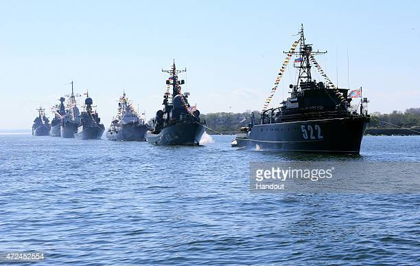 In this handout image supplied by Host photo agency / RIA Novosti Baltic Fleet vessels in ceremonial formation at a rehearsal of the navy parade to...