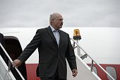 In this handout image supplied by Host Photo Agency / RIA Novosti President of the Republic of Belarus Alexander Lukashenko arrives in Ufa for the...