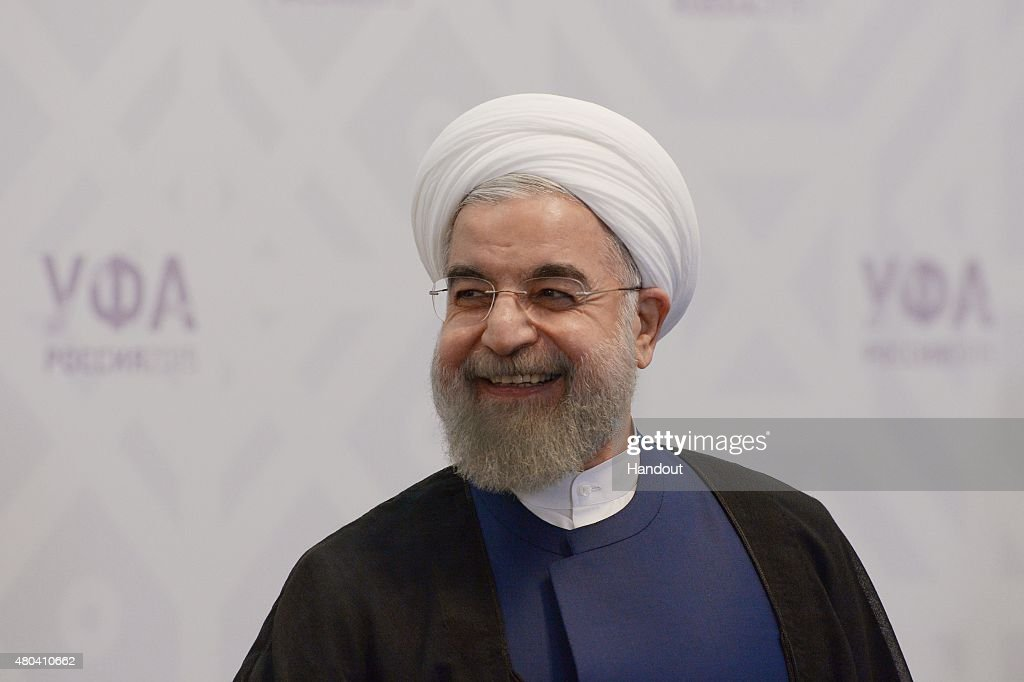 In this handout image supplied by Host Photo Agency / RIA Novosti, President of the Islamic Republic of Iran <a gi-track='captionPersonalityLinkClicked' href=/galleries/search?phrase=Hassan+Rouhani+-+Politicus&family=editorial&specificpeople=641593 ng-click='$event.stopPropagation()'>Hassan Rouhani</a> during a meeting with Prime Minister of the Republic of India Narendra Modi during BRICS/SCO Summits - Russia 2015 on July 09, 2015 in Ufa, Russia.
