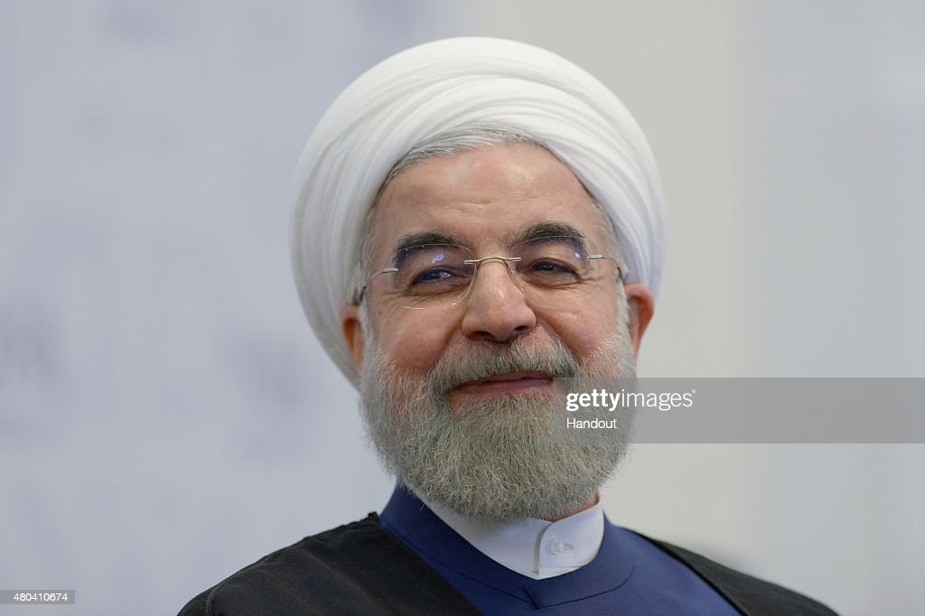 In this handout image supplied by Host Photo Agency / RIA Novosti, President of the Islamic Republic of Iran <a gi-track='captionPersonalityLinkClicked' href=/galleries/search?phrase=Hassan+Rouhani+-+Homme+politique&family=editorial&specificpeople=641593 ng-click='$event.stopPropagation()'>Hassan Rouhani</a> during a meeting with Prime Minister of the Republic of India Narendra Modi during BRICS/SCO Summits - Russia 2015 on July 09, 2015 in Ufa, Russia.
