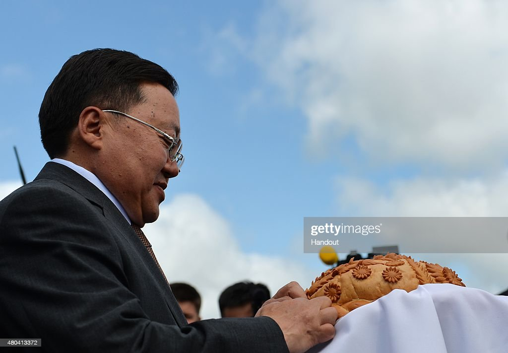 In this handout image supplied by Host Photo Agency / RIA Novosti, President of Mongolia <a gi-track='captionPersonalityLinkClicked' href=/galleries/search?phrase=Tsakhiagiin+Elbegdorj&family=editorial&specificpeople=5427078 ng-click='$event.stopPropagation()'>Tsakhiagiin Elbegdorj</a> arrives at Ufa Airport for the BRICS/SCO Summits - Russia 2015 on July 09, 2015 in Ufa, Russia.