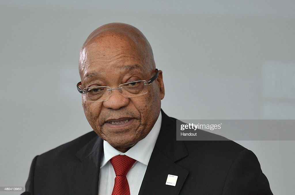In this handout image supplied by Host Photo Agency / RIA Novosti, President of the Republic of South Africa Jacob Zuma at a meeting of BRICS leaders with the BRICS Business Council at the BRICS/SCO Summits - Russia 2015 on July 09, 2015 in Ufa, Russia.