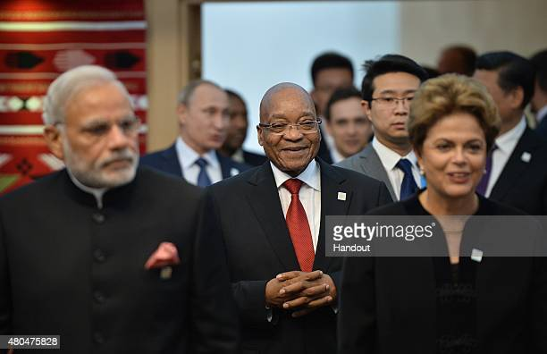 In this handout image supplied by Host Photo Agency / RIA Novosti Foreground Prime Minister of the Republic of India Narendra Modi President of the...