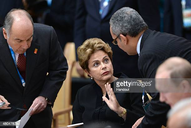 In this handout image supplied by Host Photo Agency / RIA Novosti President of the Federative Republic of Brazil Dilma Rousseff at a meeting between...