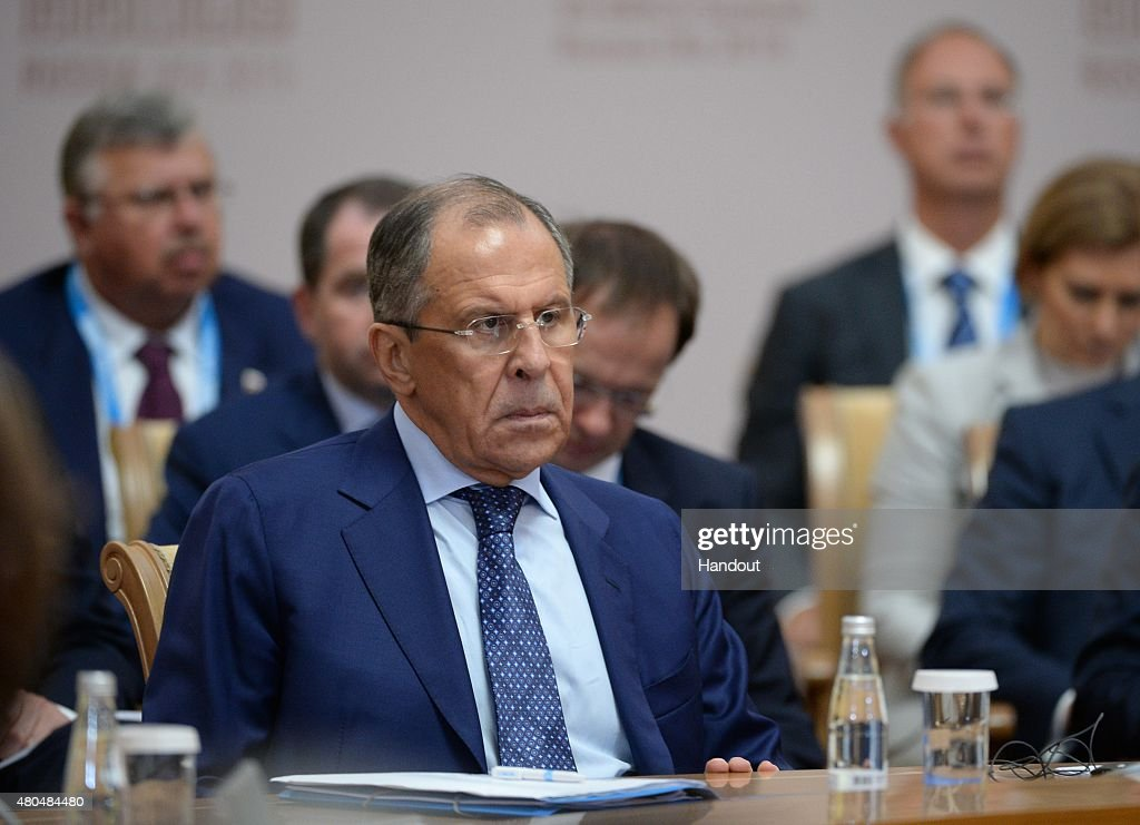 In this handout image supplied by Host Photo Agency / RIA Novosti, Minister of Foreign Affairs of the Russian Federation Sergei Lavrov at a BRICS leaders expanded meeting during the BRICS/SCO Summits - Russia 2015 on July 10, 2015 in Ufa, Russia.