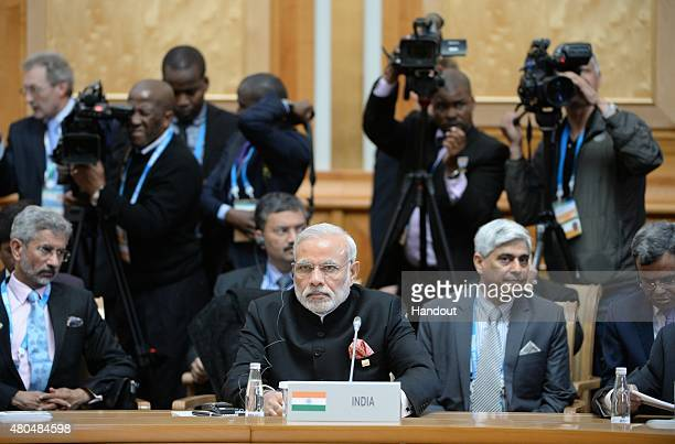 In this handout image supplied by Host Photo Agency / RIA Novosti Prime Minister of the Republic of India Narendra Modi at a BRICS leaders expanded...