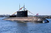 In this handout image supplied by Host photo agency / RIA Novosti The submarine 'Magnitogorsk' at a rehearsal of the navy parade to mark the 70th...