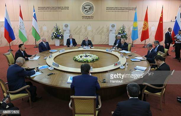 In this handout image supplied by Host Photo Agency/RIA Novosti A limited attendance meeting of the SCO Heads of State Council during the BRICS/SCO...