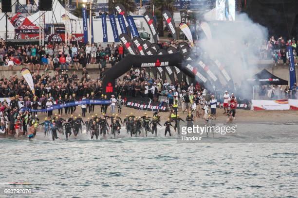 In this handout image supplied by Ironman athlete during the Ironman Triathlon at Nelson Mandela Bay Port Elizabeth on April 2nd 2017 in Port...