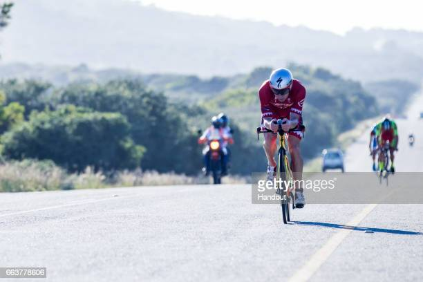 In this handout image supplied by Ironman Ben Hoffman during the 180km bike at the Ironman Triathlon at Nelson Mandela Bay Port Elizabeth on April...