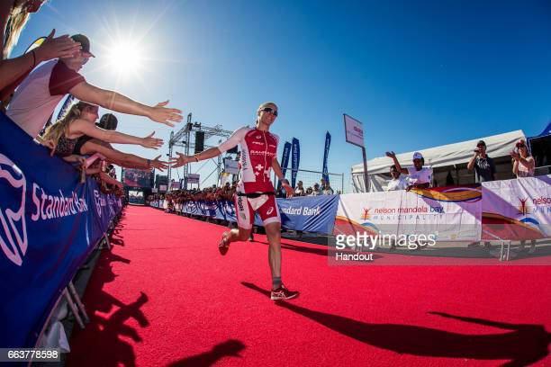 In this handout image supplied by Ironman Daniela Ryf winning the Ironman Triathlon at Nelson Mandela Bay Port Elizabeth on April 2nd 2017 in Port...