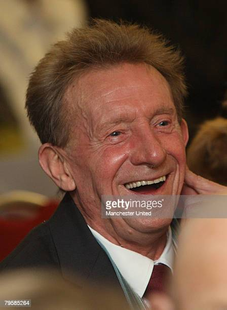 In this handout image supplied by Manchester United Denis Law of Manchester United attends the memorial service to mark the 50th anniversary of the...