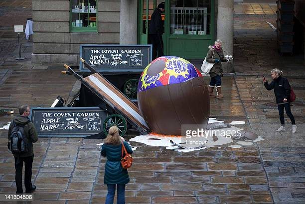 In this handout image supplied by Marcus Mays Productions Cadbury Creme Eggs celebrate Creme Egg season with a High Dive event in Covent garden...