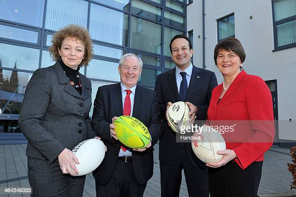 In this handout image supplied by Michael Cooper for the Ireland 2023 Rugby World Cup bid LR Sports Minister Caral Ni Chuilin Michael Ring TD Leo...