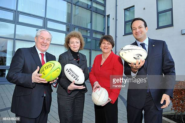 In this handout image supplied by Michael Cooper for the Ireland 2023 Rugby World Cup bid LR Michael Ring TD Sports Minister Caral Ni Chuilin...