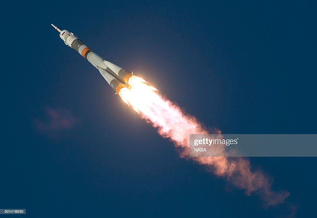 In this handout image supplied by NASA, The Soyuz TMA-19M rocket with Expedition 46 Soyuz Commander <a gi-track='captionPersonalityLinkClicked' href=/galleries/search?phrase=Yuri+Malenchenko&family=editorial&specificpeople=198749 ng-click='$event.stopPropagation()'>Yuri Malenchenko</a> of the Russian Federal Space Agency (Roscosmos), Flight Engineer Tim Kopra of NASA, and Flight Engineer Tim Peake of ESA (European Space Agency) launches into space from Baikonur cosmodrome on December 15, 2015 in Baikonur, Kazakhstan. Soyuz TMA-19M is carrying crew members Soyuz Commander <a gi-track='captionPersonalityLinkClicked' href=/galleries/search?phrase=Yuri+Malenchenko&family=editorial&specificpeople=198749 ng-click='$event.stopPropagation()'>Yuri Malenchenko</a> of the Russian Federal Space Agency (Roscosmos), Flight Engineer Tim Kopra of NASA, and Flight Engineer Tim Peake of ESA (European Space Agency) to the International Space Station for a six-month mission, as part of Expedition 46.
