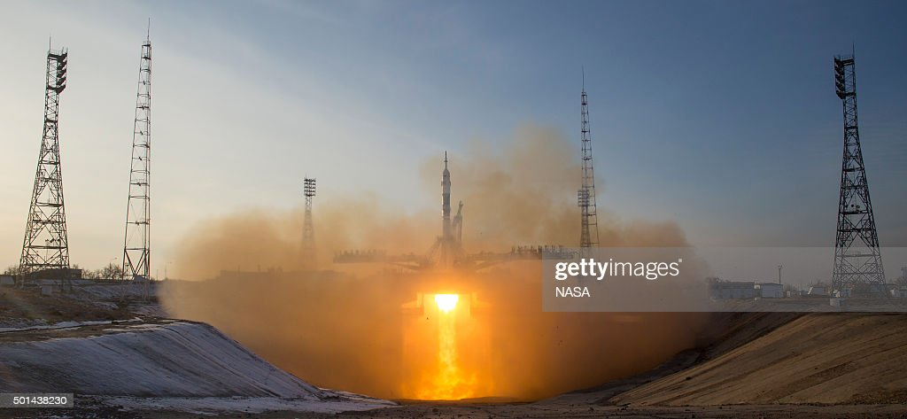 In this handout image supplied by NASA The Soyuz TMA19M rocket with Expedition 46 Soyuz Commander Yuri Malenchenko of the Russian Federal Space...