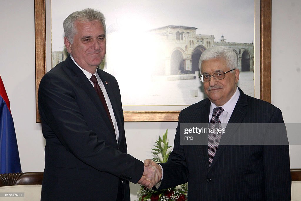 In this handout image supplied by office of the Palestinian President, President Mahmoud Abbas meets with Serbian President Tomislav Nikolic on May 1, 2013 in Ramallah, West Bank.