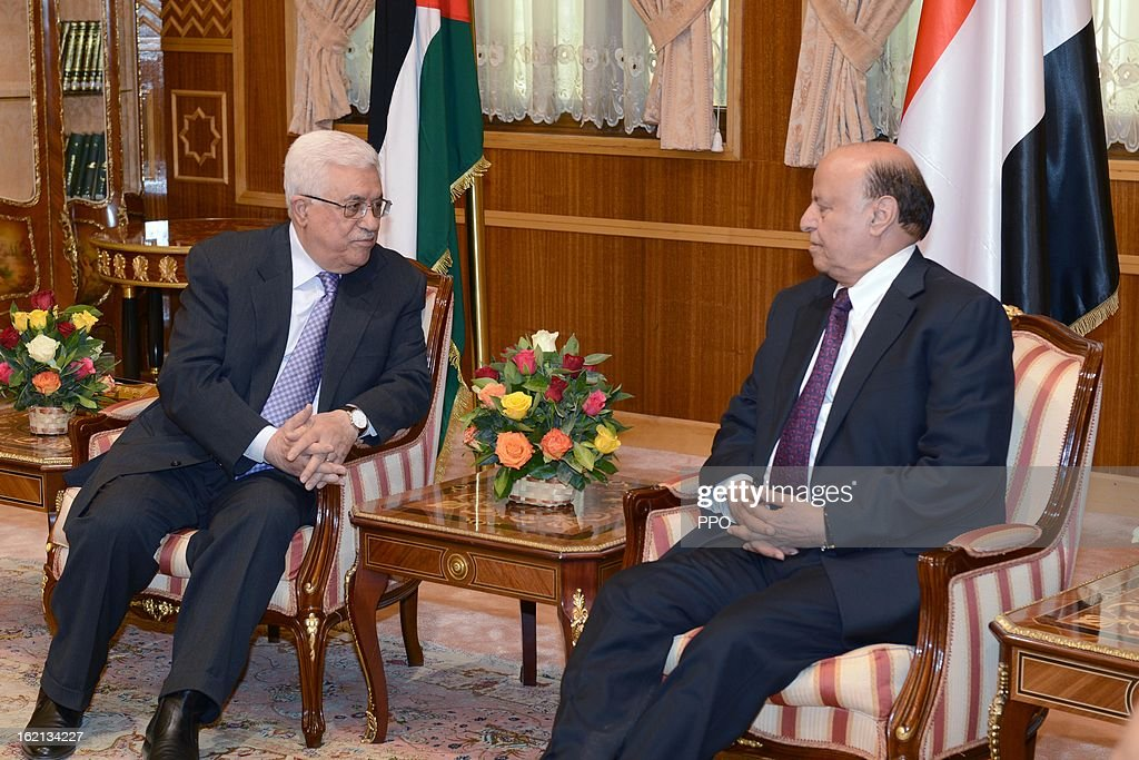 In this handout image supplied by PPO, Palestinian President Mahmoud Abbas (L) meets with Yemen President Abdu Rabu Mansour February 19, 2013 in Sana'a, Yemen. Abbas is on an official visit to discuss relations between the two countries as well as discuss the progress of the peace process with Israel.