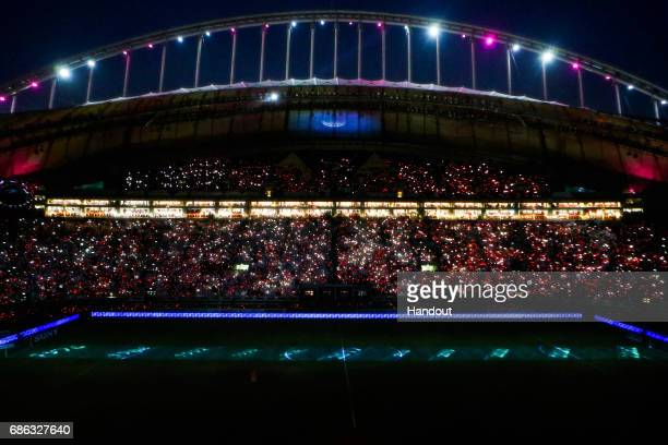 In this handout image supplied by Qatar 2022 A general view during the official opening ceremony of Khalifa International Stadium on May 19 2017 in...